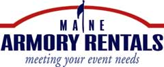 Armory Rental logo with flag and Augusta armory representation